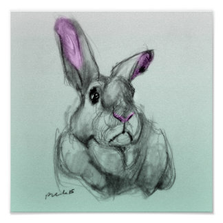 Disapproving Bunny Adorable Rabbit Blue Background Poster