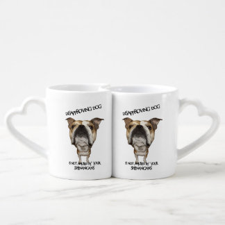 Disapproving Dog Bulldog Not Amused by Shenanigans Coffee Mug Set