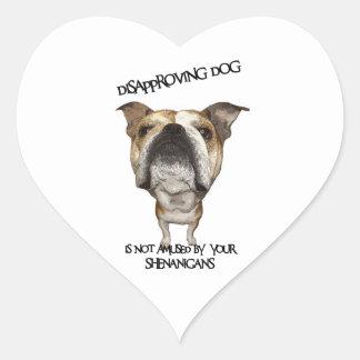 Disapproving Dog Bulldog Not Amused by Shenanigans Heart Sticker