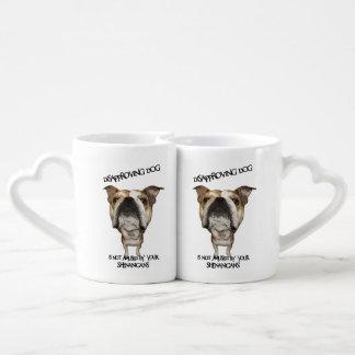 Disapproving Dog Bulldog Not Amused by Shenanigans Lovers Mugs