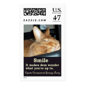 Disapproving Smiling Bunny Rabbit Postage Stamp