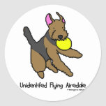 Disc Dog Airedale Terrier Round Stickers