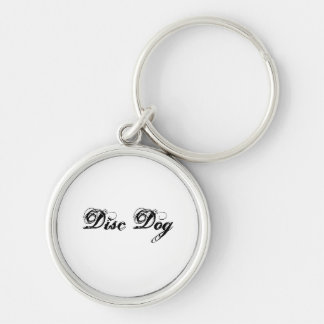 Disc dog Silver-Colored round keychain