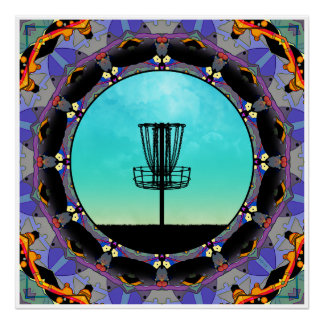 Disc Golf Abstract Basket 3 Poster