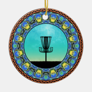 Disc Golf Abstract Basket 5 Ceramic Ornament