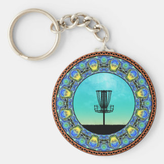 Disc Golf Abstract Basket 5 Keychain