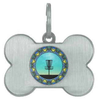 Disc Golf Abstract Basket 5 Pet ID Tag