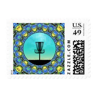 Disc Golf Abstract Basket 5 Postage Stamp