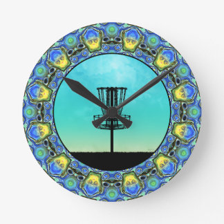 Disc Golf Abstract Basket 5 Round Clock