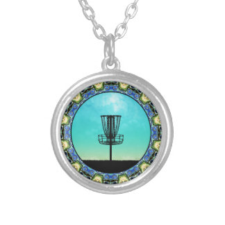 Disc Golf Abstract Basket 5 Silver Plated Necklace