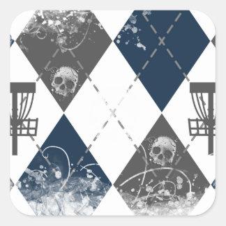 Disc Golf Argyle Design Square Sticker