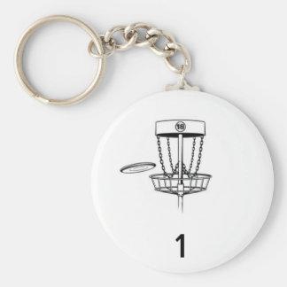 Disc Golf Bag Tag Basic Round Button Keychain
