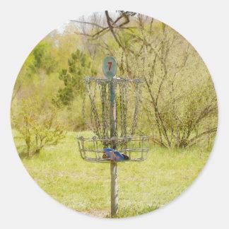 Disc Golf Basket 7 Classic Round Sticker