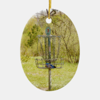 Disc Golf Basket 7 Double-Sided Oval Ceramic Christmas Ornament