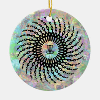 Disc Golf Basket Chains Ceramic Ornament