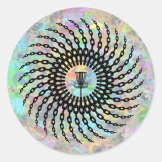 Disc Golf Basket Chains Classic Round Sticker