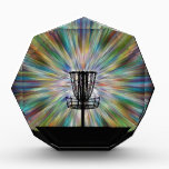 """Disc Golf Basket Silhouette Acrylic Award<br><div class=""""desc"""">Enjoy this graphic design of a disc golf basket with chains and a colorful background.</div>"""