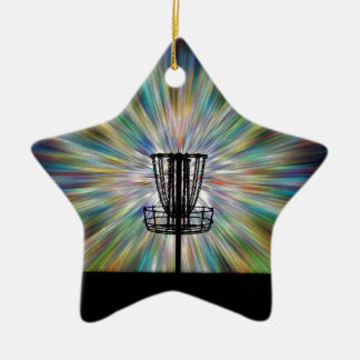 Disc Golf Basket Silhouette Ceramic Ornament