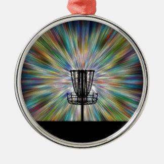 Disc Golf Basket Silhouette Metal Ornament
