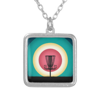 Disc Golf Basket Silhouette Personalized Necklace