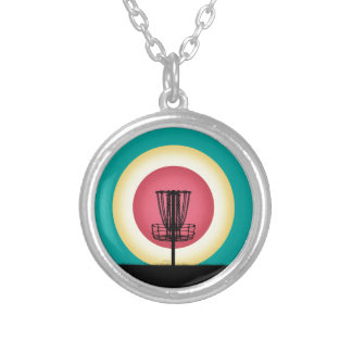 Disc Golf Basket Silhouette Silver Plated Necklace