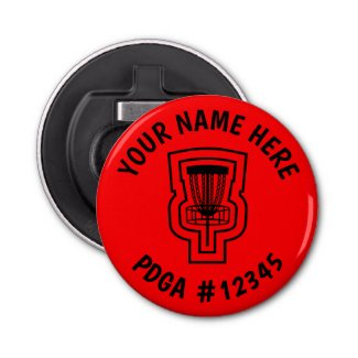 Disc Golf Bottle Opener Mini Marker - Name & PDGA#
