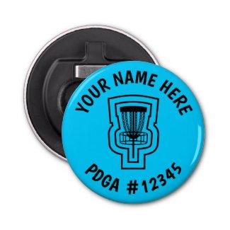 Disc Golf Bottle Opener Mini Marker - Name & PDGA#