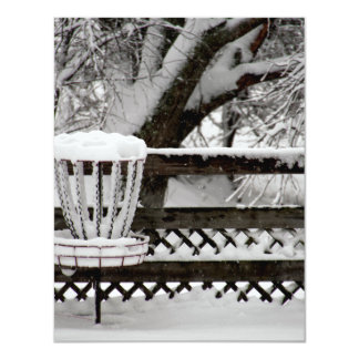 Disc Golf Goal Post in Snow Card