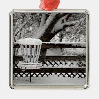 Disc Golf Goal Post in Snow Metal Ornament