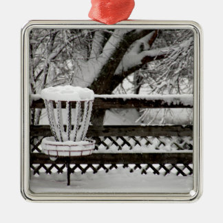 Disc Golf Goal Post in Snow Square Metal Christmas Ornament