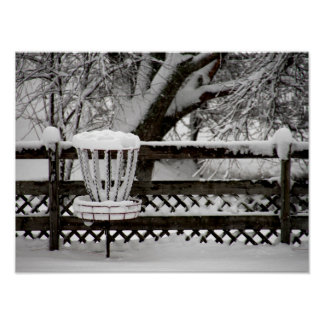 Disc Golf Goal Post in Snow Poster