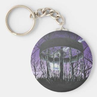 disc golf basic round button keychain