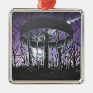 disc golf square metal christmas ornament