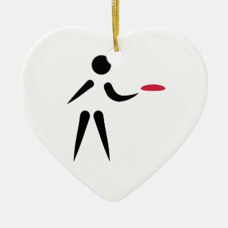 Disc golf player ceramic ornament