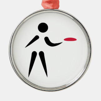 Disc golf player round metal christmas ornament
