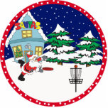 "Disc Golf Santa Ornament<br><div class=""desc"">Santa playing frisbee golf at the north pole</div>"