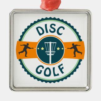 Disc Golf Square Metal Christmas Ornament