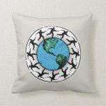 Disc Golfing Planet Earth Pillow