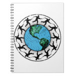 Disc Golfing Planet Earth Spiral Notebooks