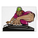disc jockey de DJ que juega la placa giratoria de  Felicitación