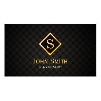 Disc jockey del monograma del diamante del oro de tarjetas de visita