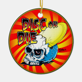 Disc Or Die Double-Sided Ceramic Round Christmas Ornament
