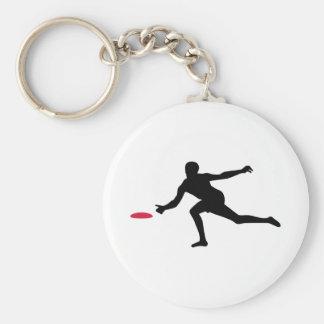 Discgolf player basic round button keychain
