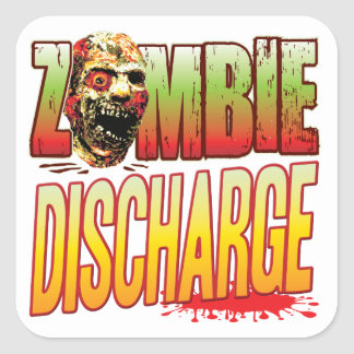 Discharge Zombie Head Square Sticker