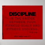 Disciplina roja de la aptitud del hilo del negro d poster