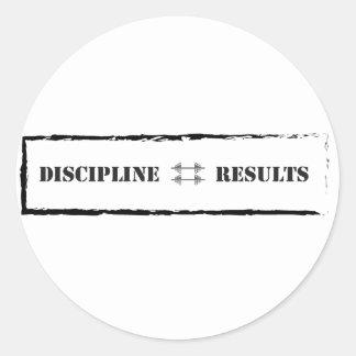 Discipline = Results Classic Round Sticker