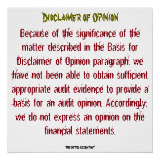 """Disclaimer of Opinion"" Poster"
