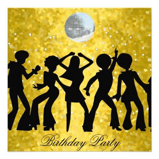 Disco 70s Birthday Party Invitation 525 Square Card