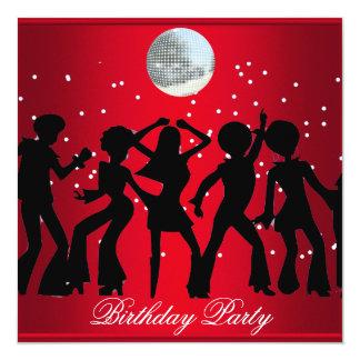 Disco 70's Birthday Party Invitation Red