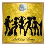 """Disco 70's Birthday Party Invitation Retro 5.25"""" Square Invitation Card"""